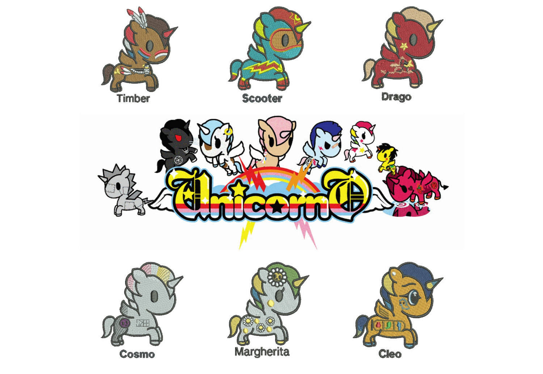 25% off - Unicorno Kawaii - Tokidoki - 6 Unicorns in a set for 4x4in hoop - machine embroidery designs.
