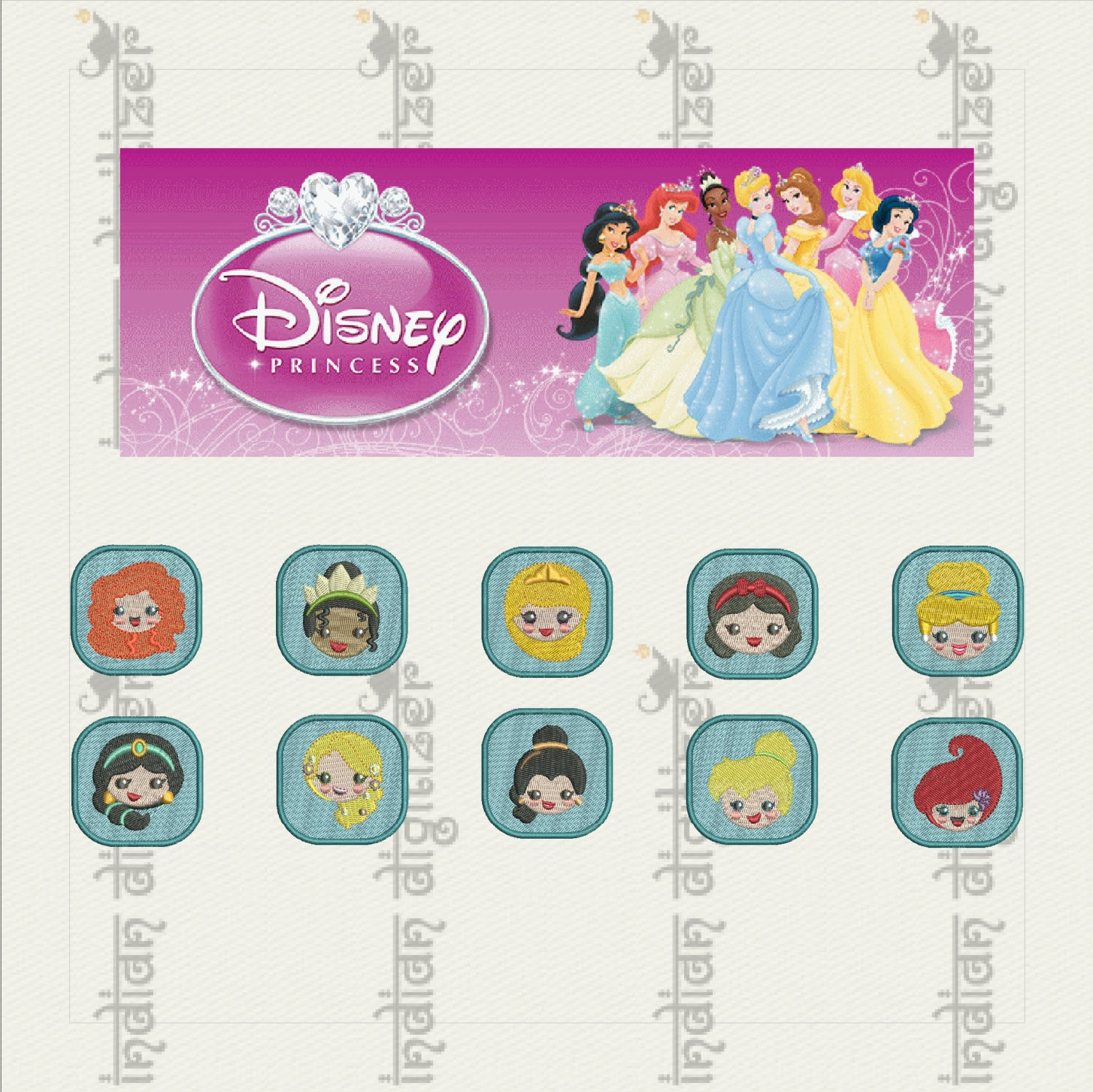 50% off on Disney Princess Emojis machine embroidery designs for 4in hoop - 10 resizable designs for key fobs, tshirts, hats, towels, bibs.