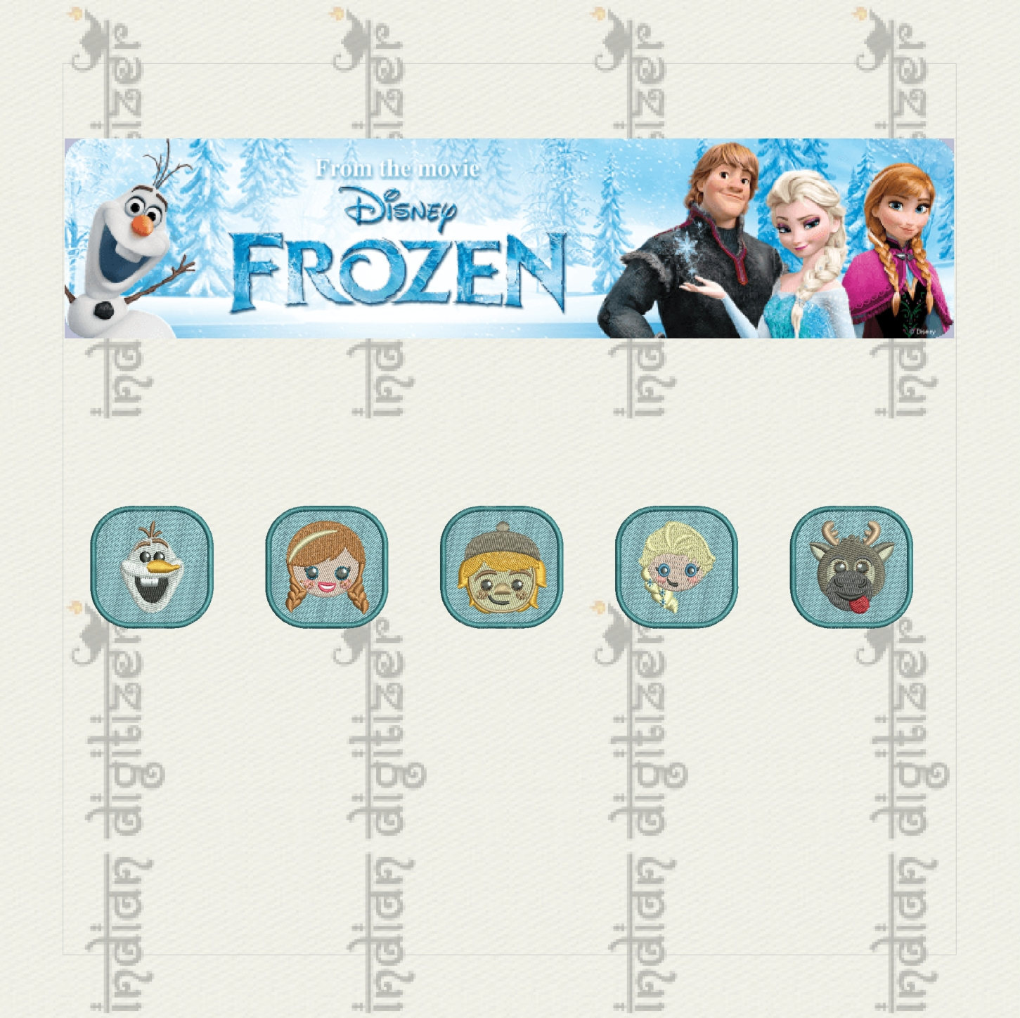 50% off on Frozen Emojis machine embroidery designs for 4in hoop - 5 resizable designs for badges, key fobs, tshirts, hats, towels, bibs.