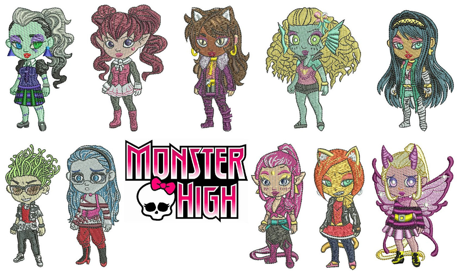 Monster High Machine Embroidery Designs Indian Digitizer
