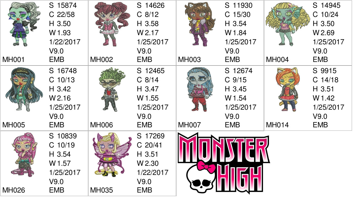 50% off on Monster High Machine Embroidery Designs for 4in hoop - resizeable with a freely downloadable software.