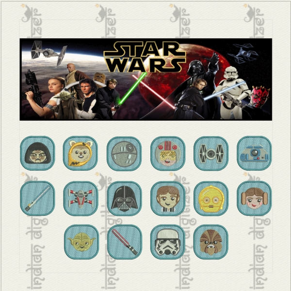Star Wars Emojis Machine Embroidery Designs 16 Resizable Designs
