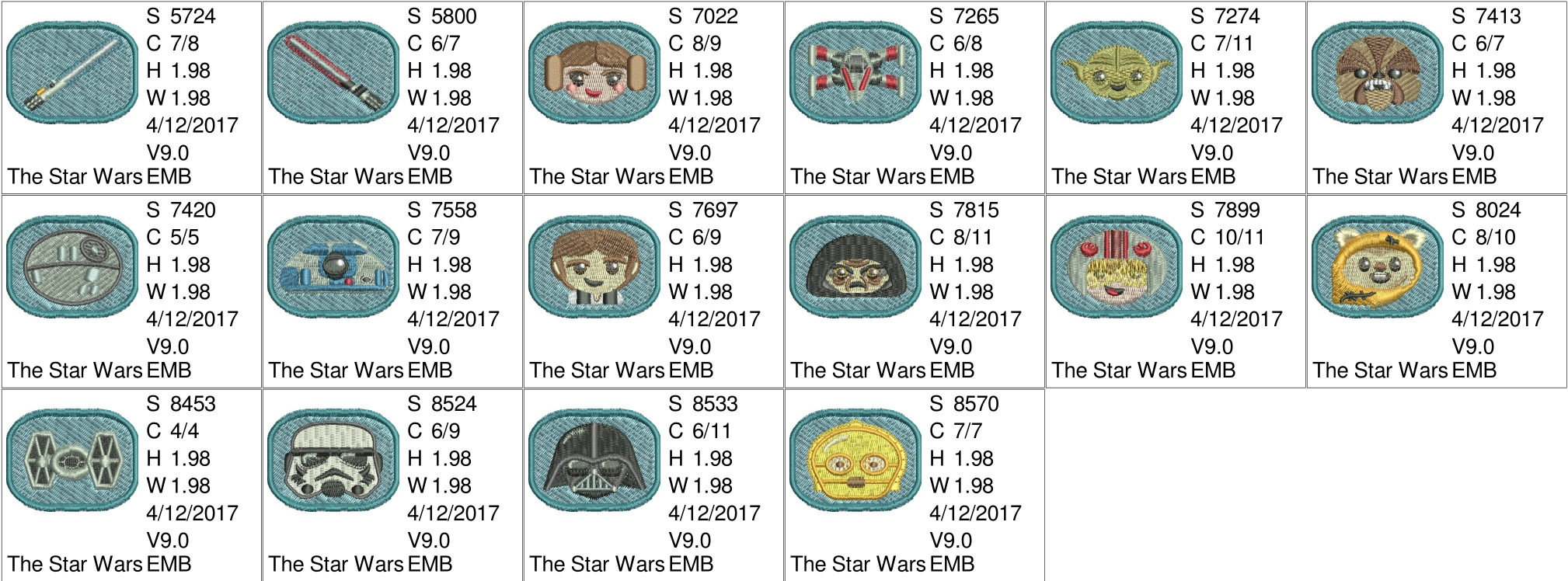 50% off on Starwars Emojis machine embroidery designs for 4in hoop - 16 resizable designs for badges, key fobs, tshirts, hats, towels, bibs.