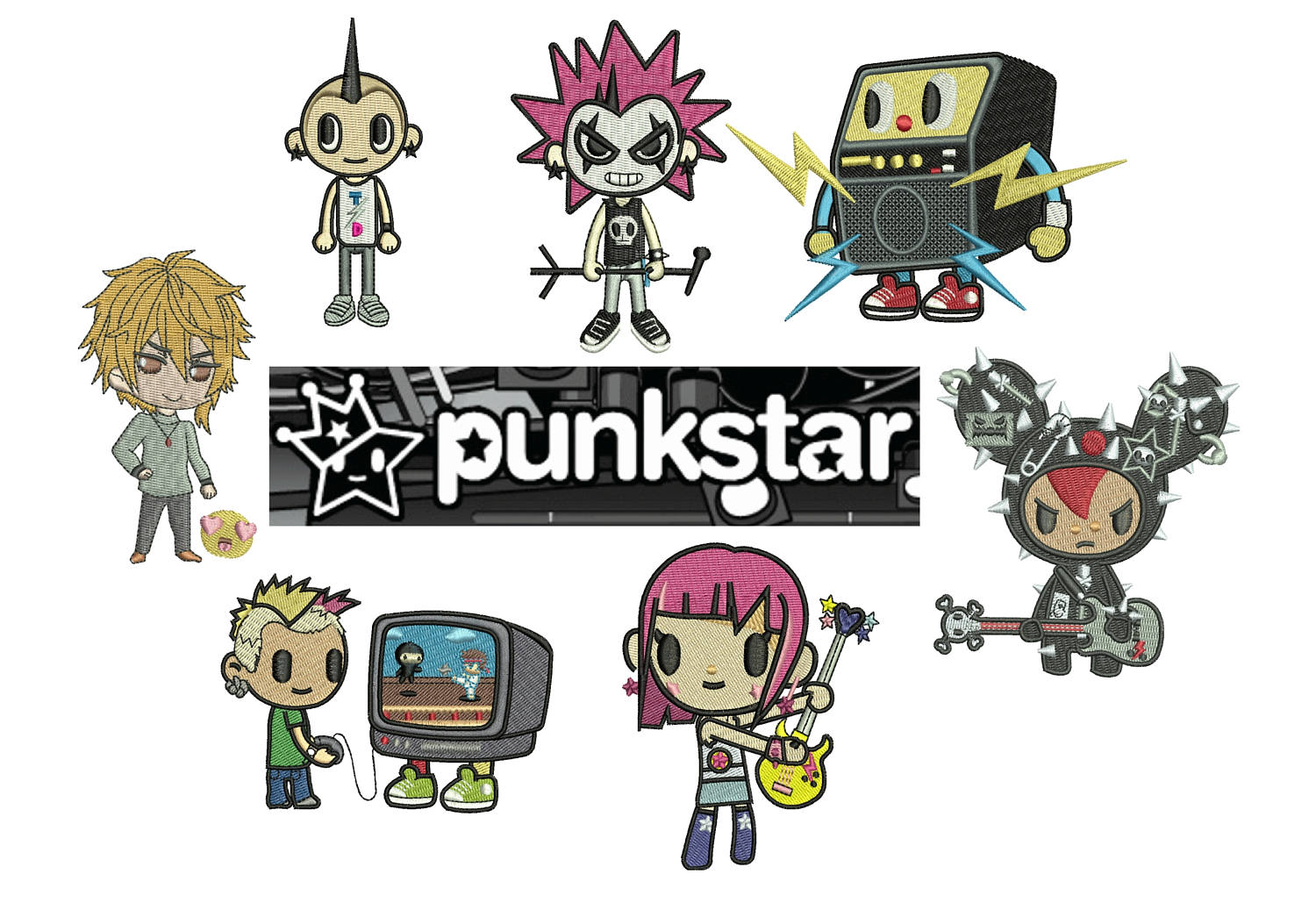 50% off on Tokidoki machine embroidery designs - 7 individual characters for 4in hoop size - resizable with a free software - Set 1 of 5.