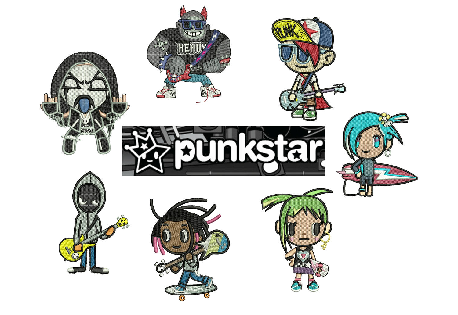 50% off on Tokidoki machine embroidery designs - 7 individual characters for 4in hoop size - resizable with a free software - Set 2 of 5.