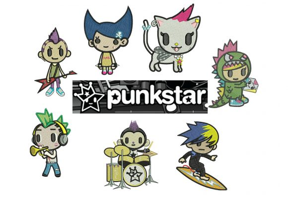 50% off on Tokidoki machine embroidery designs - 7 individual characters for 4in hoop size - resizable with a free software - Set 3 of 5.