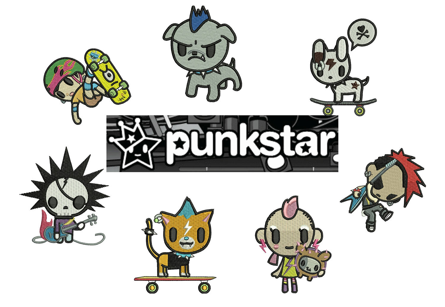 50% off on Tokidoki machine embroidery designs - 7 individual characters for 4in hoop size - resizable with a free software - Set 4 of 5.