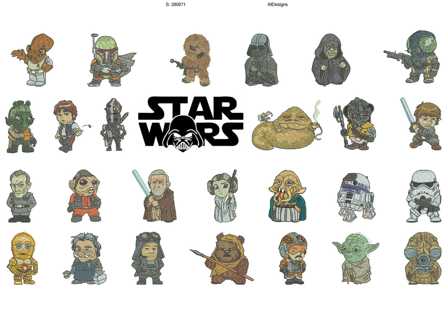 50% off - Star Wars machine embroidery designs for 4x4in hoop - Starwars 26 characters -  re-sizable with a free downloadable utility.