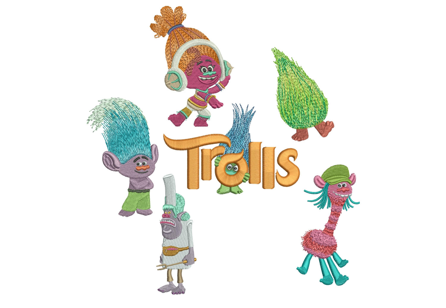 50% off - Trolls machine embroidery designs - 4in hoop - Set No.2 - Trolls Movie Logo, Cooper, Chef, Creek, DJ, Fuzzbert - resizeable files.
