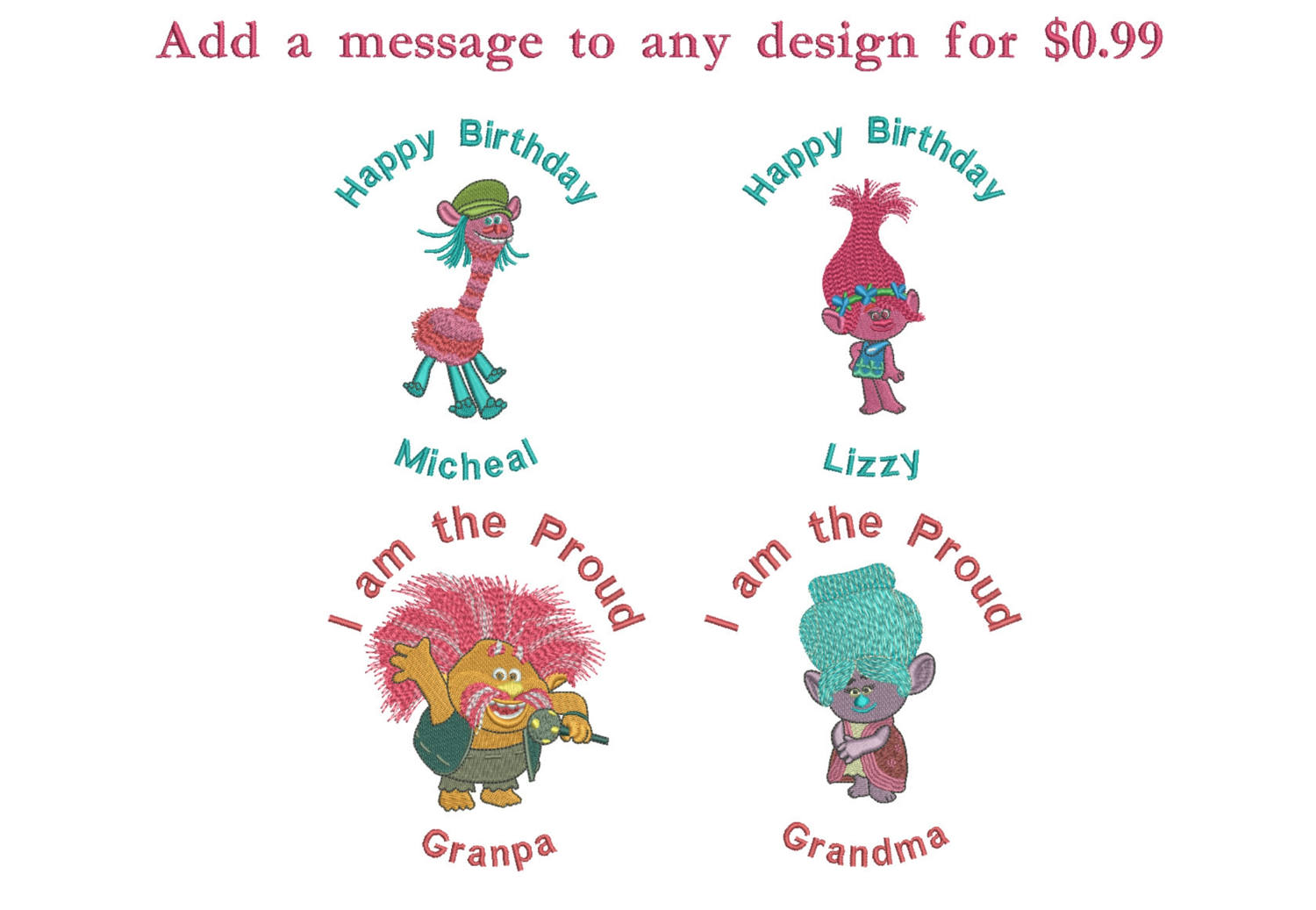 50% off - Trolls machine embroidery designs - 4in hoop - Set No.3 - Trolls Logo, King Gristle, Guy Diamond, Grandma, Smidge, Moxie & Mandy.
