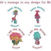 50% off - Trolls machine embroidery designs - 6 designs - 4in hoop - Set No.1 - Aspen, Biggie, Branch, Branch & Poppy and Trolls Movie Logo