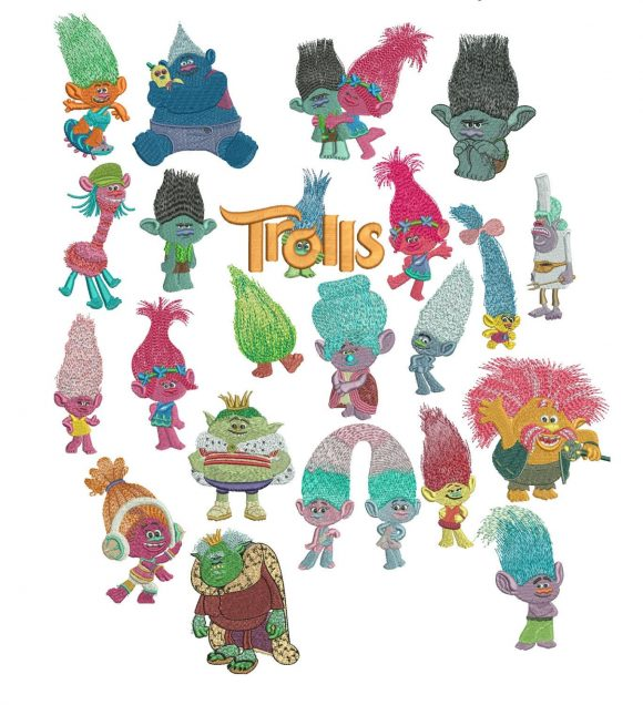 75% off - Movie Trolls machine embroidery designs for 4x4in hoop - 22 characters - resizeable with a freely downloadable utility.