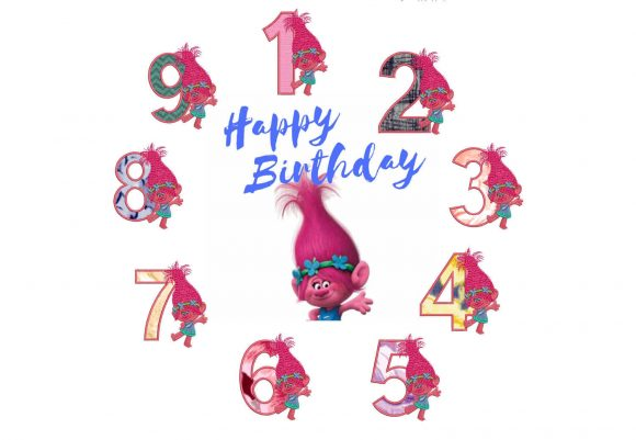 75% off on 4x4in hoop - Princess Poppy from the Movie Trolls - machine embroidery design - Applique Numbers 1 to 9 excellent for birthdays.