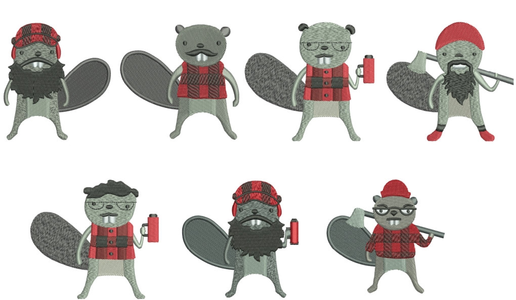 75% off on Burly Beavers - 4in x 4in hoop machine embroidery designs of these cute beavers.