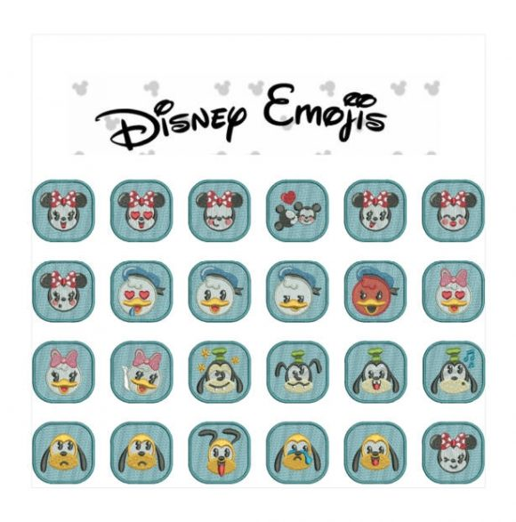 75% off on Disney Emojis machine embroidery designs for 4in hoop - resizable - excellent for badges, key fobs, tshirts, hats, towels, bibs.