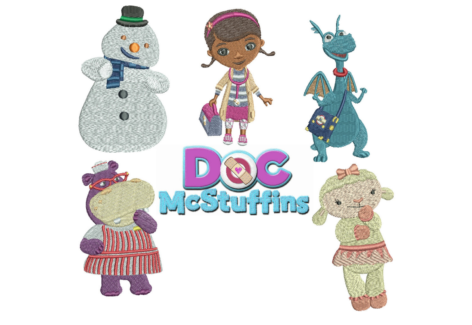 75% off on Doc McStuffin Embroidery Designs - 4 x 4in hoop machine embroidery designs - resizable files with a freely downloadable software.