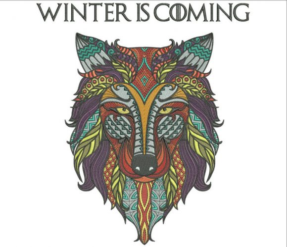 75% off on Zentangle Wolf Design - Winter is Coming - Game of Thrones - 10in tall for machine embroidery - Embroider on Jackets or Frame it.