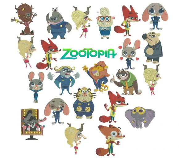 75% off - Zootopia machine embroidery designs for 4x4in hoop - 22 characters - resizeable with a freely downloadable utility.