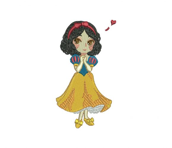Disney Princess Snow White Kawaii machine embroidery design for 4in hoop can be resized with a free software.