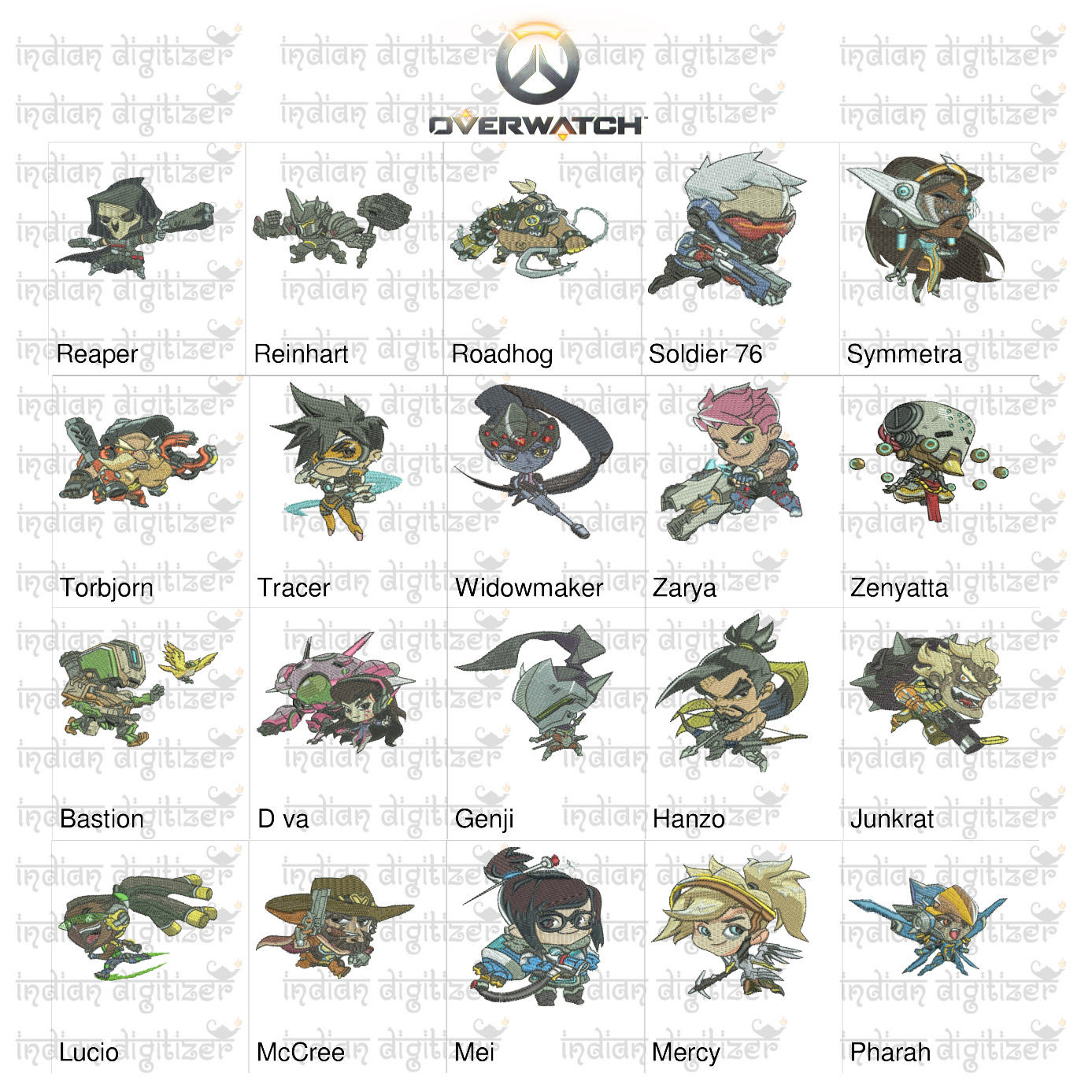 50% off - Overwatch Embroidery Designs - 20 individual characters for 4x4in hoop - resizable with freely downloadable software.
