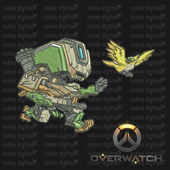 Overwatch Embroidery Designs - Bastion individual character for 4x4in hoop - resizable with freely downloadable software.
