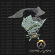 Overwatch Embroidery Designs - Genji individual character for 4x4in hoop - resizable with freely downloadable software.