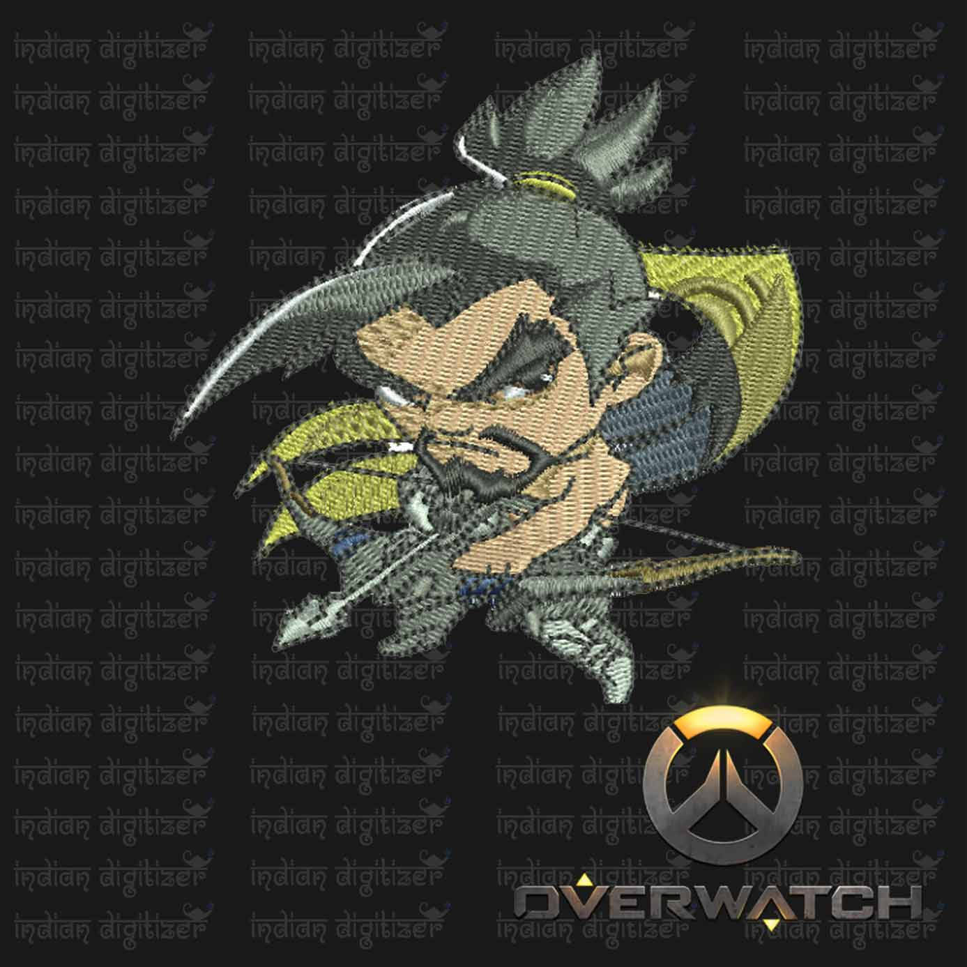 Overwatch Embroidery Designs - Hanzo individual character for 4x4in hoop - resizable with freely downloadable software.
