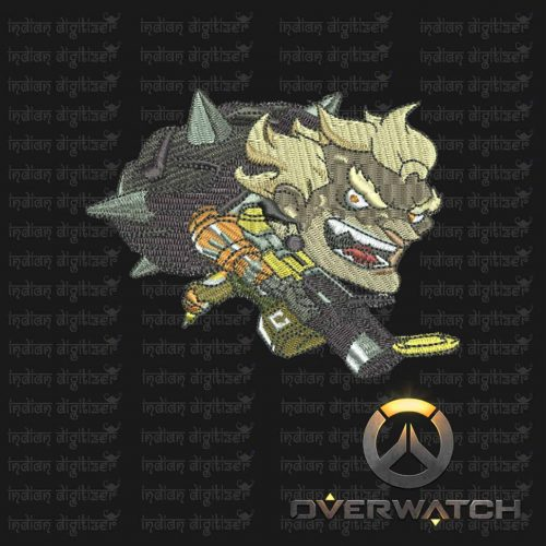 Overwatch Embroidery Designs - Junkrat individual character for 4x4in hoop - resizable with freely downloadable software.
