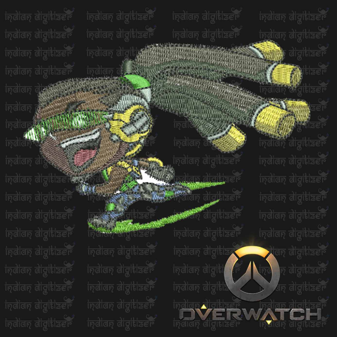 Overwatch Embroidery Designs - Lucio individual character for 4x4in hoop - resizable with freely downloadable software.