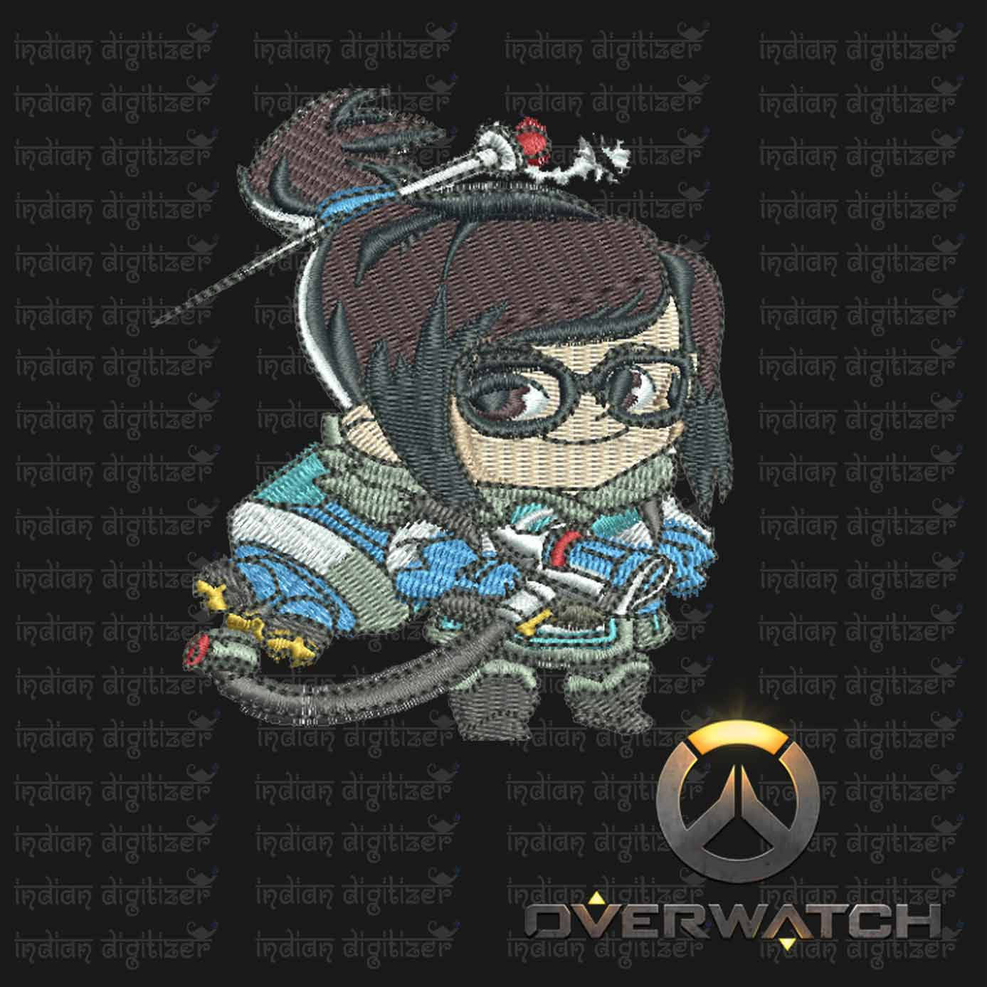 Overwatch Embroidery Designs - Mei individual character for 4x4in hoop - resizable with freely downloadable software.