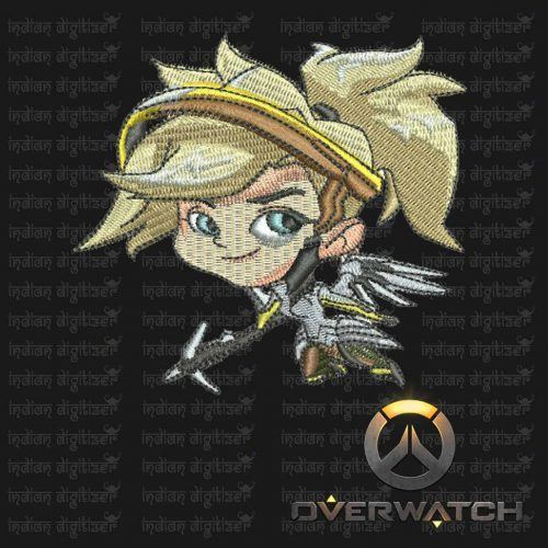 Overwatch Embroidery Designs - Mercy individual character for 4x4in hoop - resizable with freely downloadable software.