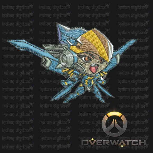 Overwatch Embroidery Designs - Pharah individual character for 4x4in hoop - resizable with freely downloadable software.