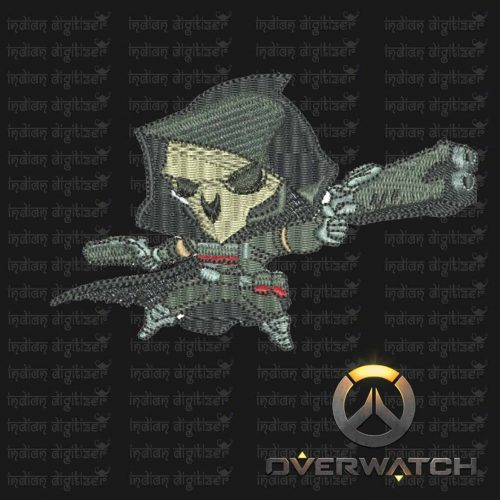 Overwatch Embroidery Designs - Reaper individual character for 4x4in hoop - resizable with freely downloadable software.