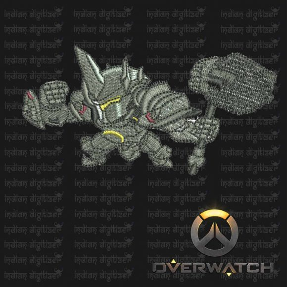 Overwatch Embroidery Designs - Reinhart individual character for 4x4in hoop - resizable with freely downloadable software.