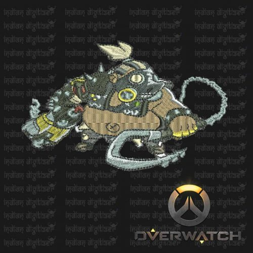Overwatch Embroidery Designs - Roadhog individual character for 4x4in hoop - resizable with freely downloadable software.
