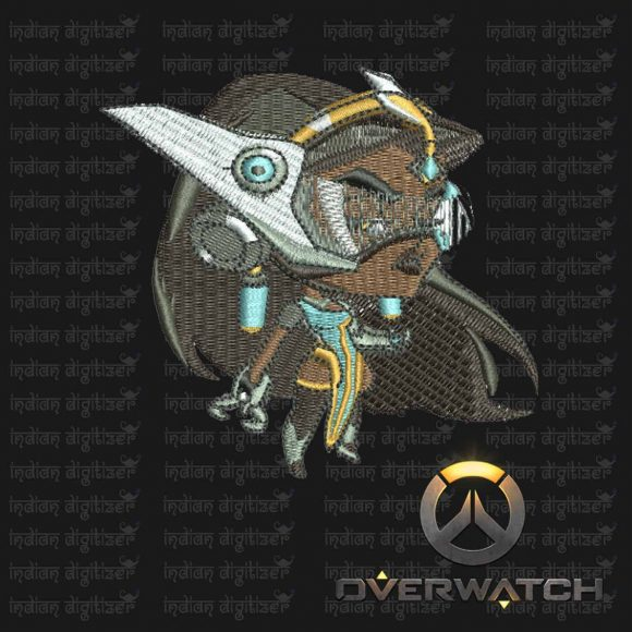 Overwatch Embroidery Designs - Symmetra individual character for 4x4in hoop - resizable with freely downloadable software.