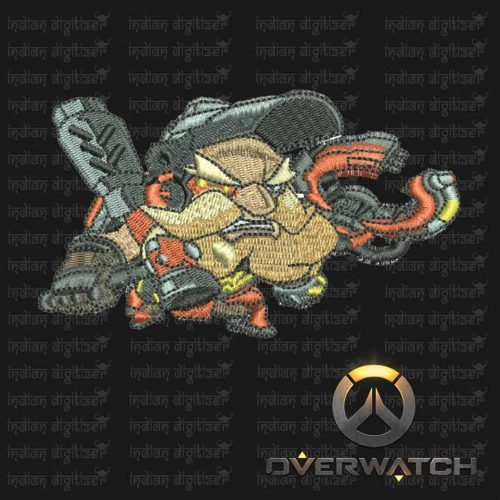 Overwatch Embroidery Designs - Torbjorn individual character for 4x4in hoop - resizable with freely downloadable software.