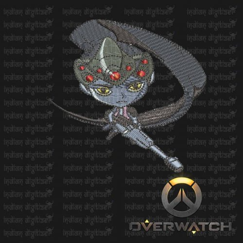 Overwatch Embroidery Designs - Widow Maker individual character for 4x4in hoop - resizable with freely downloadable software.