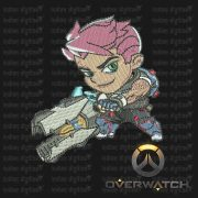 Overwatch Embroidery Designs - Zarya individual character for 4x4in hoop - resizable with freely downloadable software.