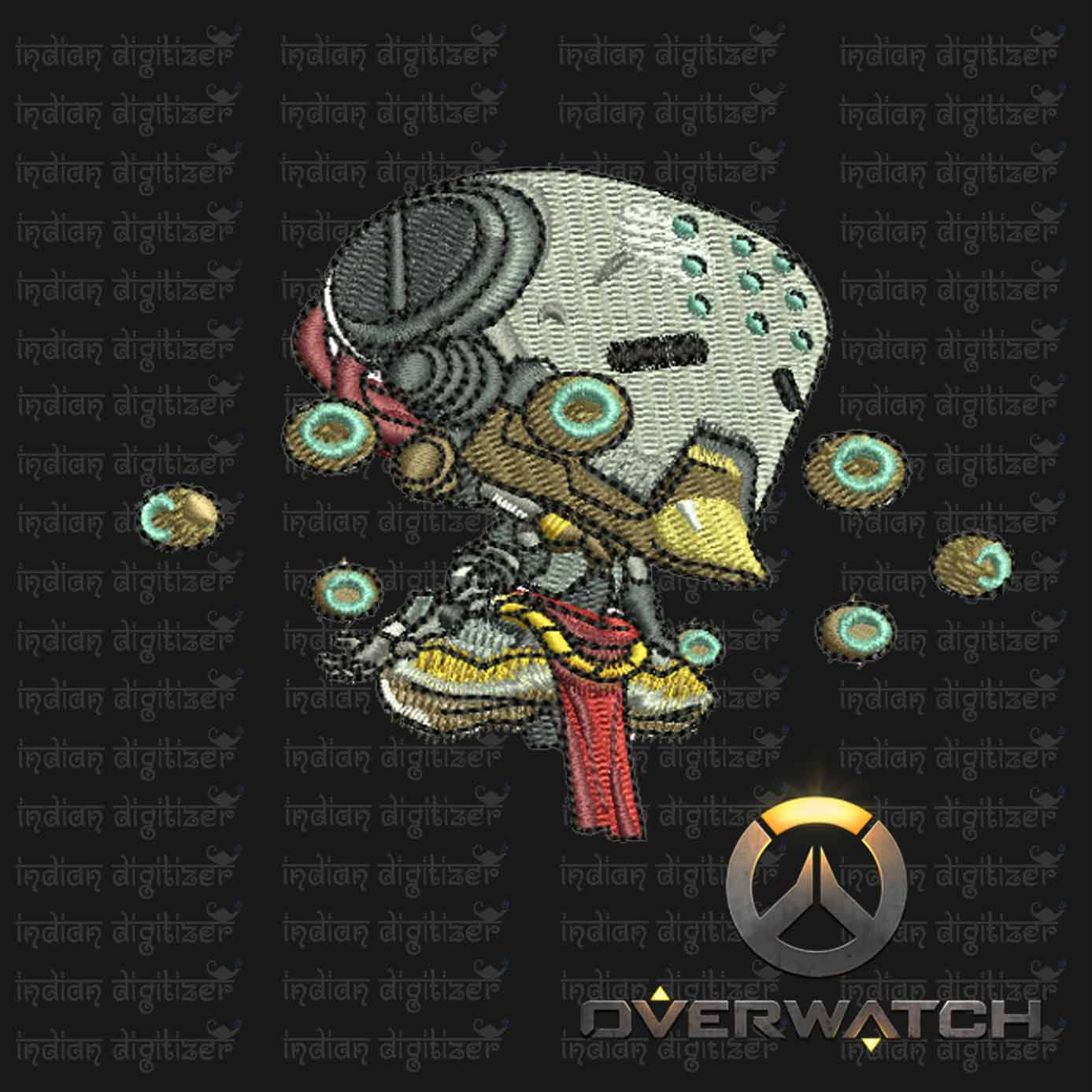 Overwatch Embroidery Designs - Zenyatta individual character for 4x4in hoop - resizable with freely downloadable software.