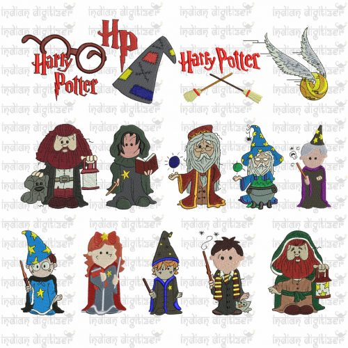 Harry Potter Embroidery Design Chibis for 4in hoops - a total of 14 designs - buy the whole set and get 6 free designs worth USD16.