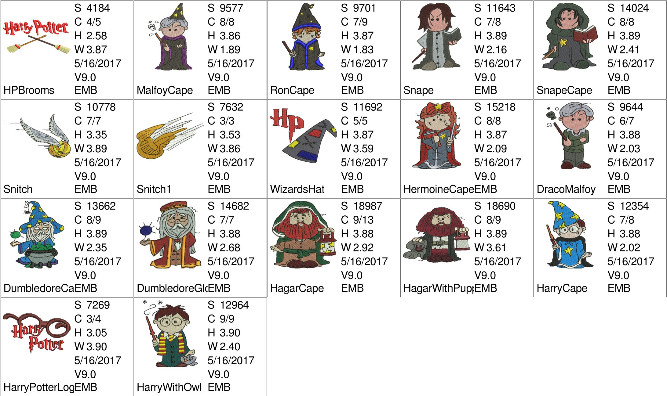 Harry Potter Embroidery Design Chibis For 4in Hoops A Total Of 14 Designs Buy The Whole Set And Get 6 Free Designs Worth Usd16